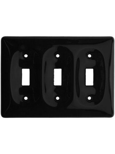 Porcelain Wall Switchplate - Black Porcelain Triple Toggle Switch Plate