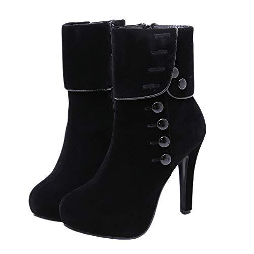 Stupmary Women's Mid-Calf Boots Round Toe Platform Winter Boots Stilleo Heels Warm Plush Bootie with Zip ()
