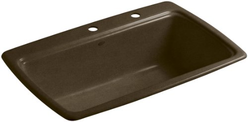 (Kohler K-5863-2-KA Cape Dory Self-Rimming Kitchen Sink with Two-Hole Faucet Drilling, Black 'n Tan)