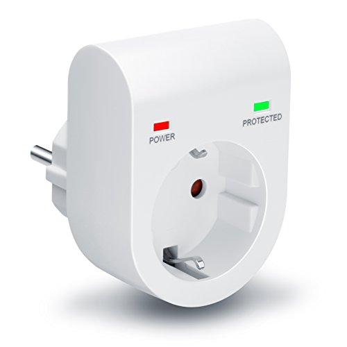 Arendo - Premium Überspannungsschutzadapter   Schuko Schutz-Adapter   Blitzschutz   bis zu 3500 W   IP 20   integrierte Kindersicherung   Überspannungsschutz mit LED-Funktionsanzeige (POWER/PROTECTED)   Farbe: weiß (matt)