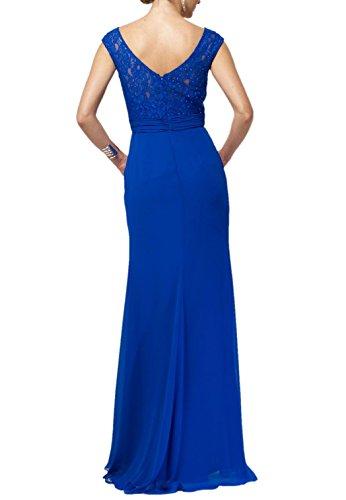 Damen Kurzarm Lang Royal Spitze Festlichkleider Partykleider Abendkleider Charmant Schwarz Blau Ballkleider OPT6xqq