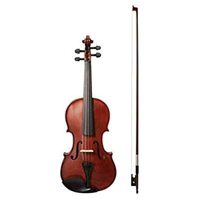 AmazonBasics Beginner Violin Bundle, Full Size, Solid wood - Bow, Strings, Strap, Tuner, Rosin, and Case
