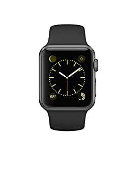 Apple Watch Series 1 38mm Space Gray Aluminum With Black Sport Band 0