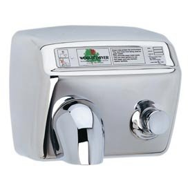 World Dryer DA5-973 Push Button Hand Dryer, Brushed Stainless Steel, 115V (Button Push Hand Dryer)
