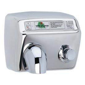 World Dryer DA5-973 Push Button Hand Dryer, Brushed Stainless Steel, 115V - World Dryer Model