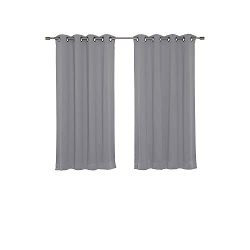 Best Home Fashion Basic Thermal Insulated Blackout Curtains - Antique Bronze Grommet Top - Grey - 52