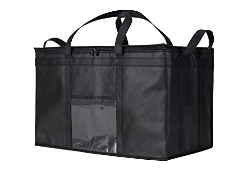 NZ Home XXXL Food Delivery Bag - Hot & Cold Insulated Soft Cooler - Ideal for Uber Eats, Instacart, Doordash, Grubhub, Postmates, Restaurant, Catering, Grocery Transport - Superb Dual Zipper - Black