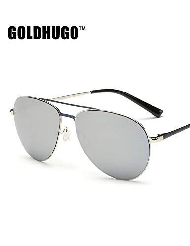 Jewelry Drivers Polarized (JEGOAU Men's Metal Sunglasses Polarized Sunglasses Color Film yurt Driver Mirror Driving Mirror (Silver Frame Sheet)