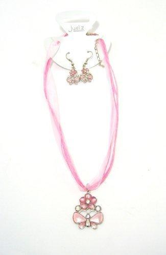 Superbe collier et boucles d'oreilles Motif Papillon Rose