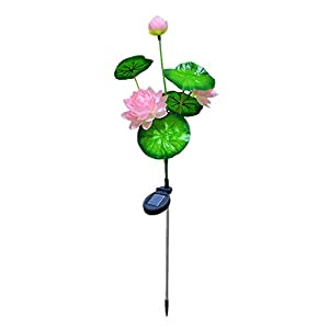 Hot.Newest.Releases Lotus Solar Powered Light Garden Stake Lights Artificial Flowers LED Lamp 84