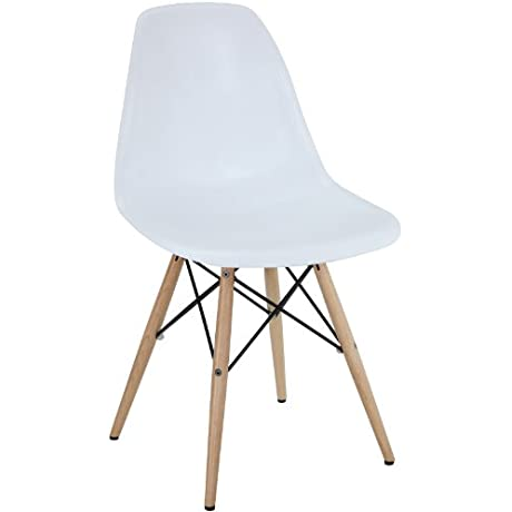 Modway Plastic Side Chair In White With Wooden Base