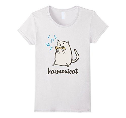 Womens Harmonicat Meow Cat Kitty Kitten Paws Rescue Pets Funny Tee Medium White - White Kitty Paws