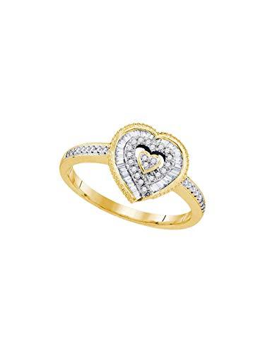 (10kt Yellow Gold Womens Round Diamond Heart Love Ring 1/4 Cttw)