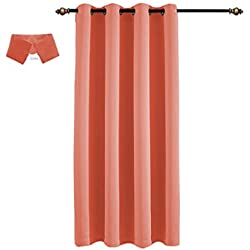 Yakamok Home Fashion Thermal Insulated Solid Grommet Top Blackout Curtains for Bedroom(Coral Orange, 52x84-inch,1 Panel)