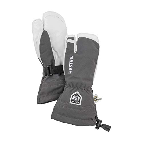 Hestra Army Leather Heli Ski Jr 3 Finger Glove (Grey, 3)