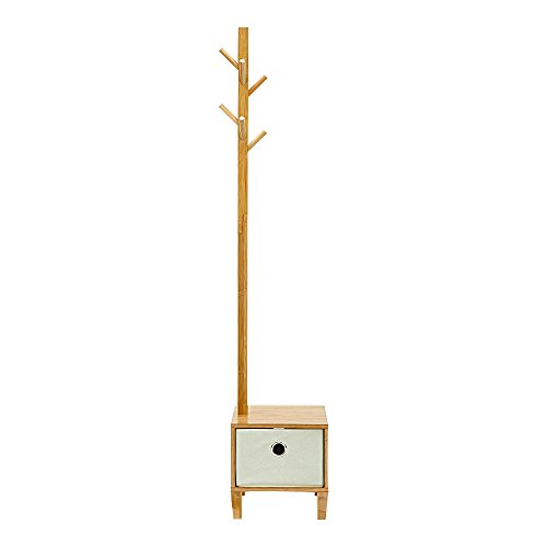 E-Goal Wooden Bamboo Coat Stand 8 Hooks Free Standing Coat Hat Rack Tree Clothes Rail Hanging Storage Organiser Clothes Stand Hanger with Drawer Design for Bedroom, Living Room, Office Size 69.6inch by E-Goal