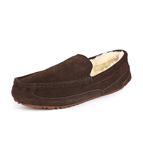DREAM PAIRS Men's Au-Loafer-01 Brown Suede Faux Fur Slippers Loafers Shoes Size 7.5 M US