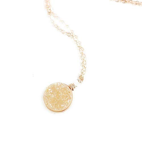 Champagne Druzy Geode Rose Gold Necklace - 18