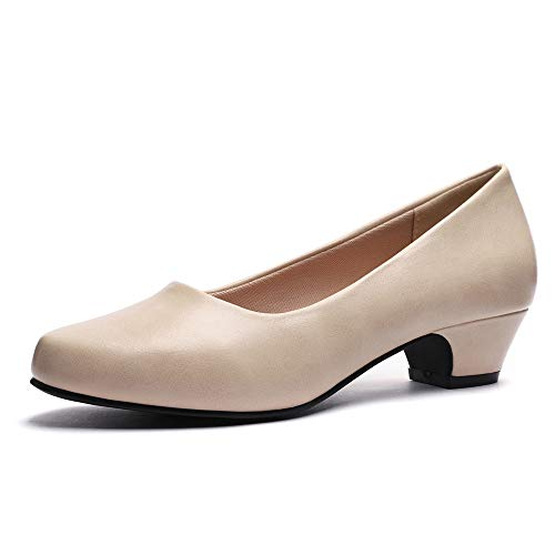 (GUCHENG Chunky Heels Pumps Low Shoes Women's - Dress Ladies Heel Comfortable - Formal Width Black Brown White Wedding Shoes (6-6.5 M US, Bone)