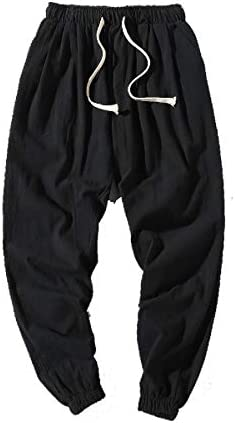 VITryst Mens Big & Tall Thin Harem Pants Relaxed Cotton Linen Jogging Pants