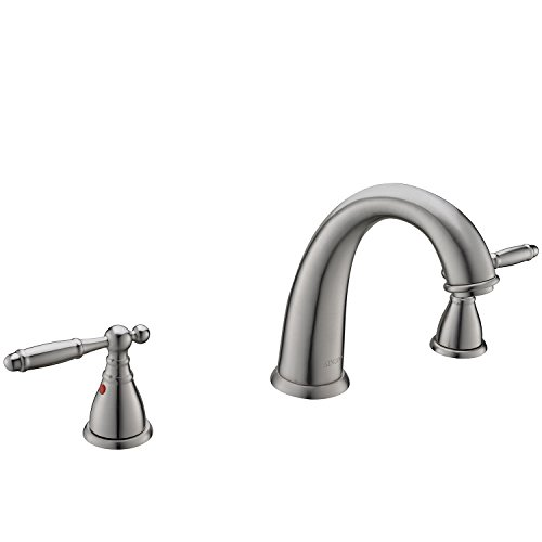 KINGO HOME Commercial Solid Brass Lavatory Three Holes Two Handle Lever Widespread Brushed Nickel Bathroom Faucet, Bathroom Sink Faucet Without Pop Up Drain by KINGO HOME