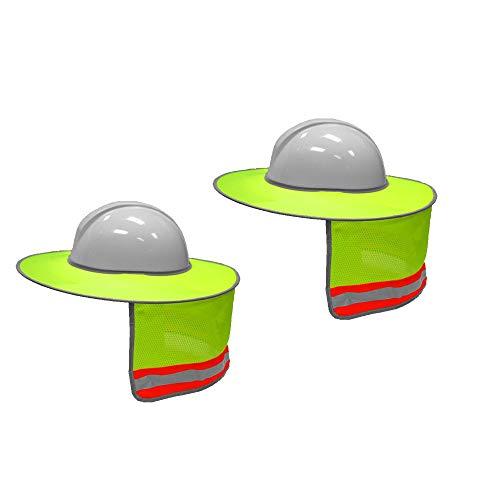 2 Pack Hard Hat Sun Shield,Full Brim Mesh Neck Sunshade for Hardhats,High Visibility,Reflective by Shine US (Image #5)