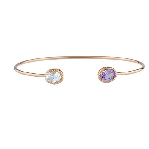 Simulated Aquamarine & Created Alexandrite Diamond Bangle Oval Bracelet 14Kt Rose Gold Plated Over .925 Sterling Silver (Diamond Oval Bangle)