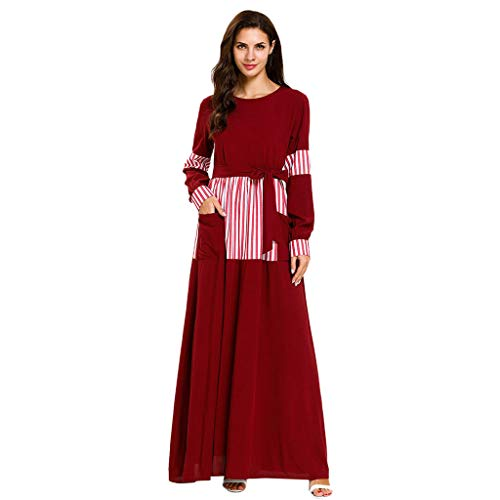 HYIRI Dubai Maxi Dress Islam Women's Soft Kaftan Abaya Loose Clothing for Lady Red -