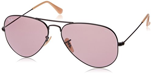 - Ray-Ban RB3025 Aviator Evolve Photochromic Sunglasses, Black/Purple Photochromic, 58 mm