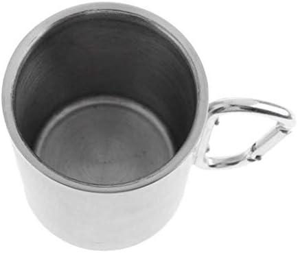 TUOLUO Edelstahl Leichte 300ML Edelstahl Camping Tasse Kaffee Picknick Tasse Zum Bergsteigen, Wandern, Angeln, Picknick 300 ml/rostfreier Stahl