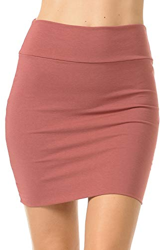 (Fashion Aktiv Basic Double-Layer Cotton Simple Stretchy Tube Pencil Mini Skirt (Medium, Dark)