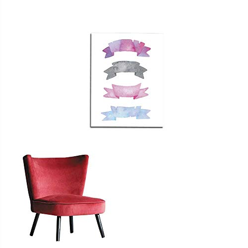 longbuyer Art Stickers Set with Watercolor Ribbons in Pink Purple Grey and Blue Mural 24