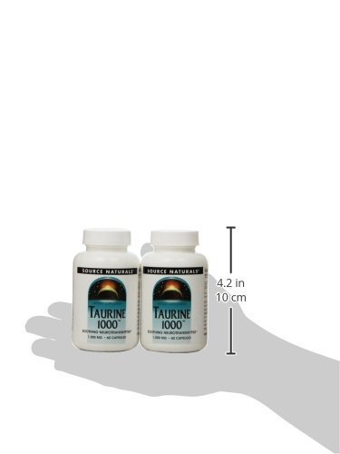 Source Naturals Taurine 1000mg, 60 Capsules (Pack of 2)