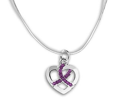 Alzheimers/Epilepsy/ADHD Awareness Purple Ribbon Crystal Charm Necklace