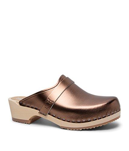 Sandgrens Swedish Low Heel Wooden Clog Mules for Women | Tokyo Metallic Bronze, EU 39