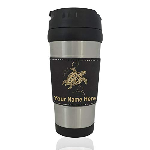 - Travel Mug, Hawaiian Sea Turtle, Personalized Engraving Included (Black)