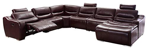 2144 Italian Leather Right Hand Facing Sectional Sofa w/Recliner in Brown