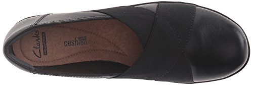 Clarks Womens Medora Jem Slip-On Loafer Black Leather