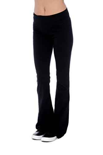 Unique Styles Fold-Over Waistband Stretchy Cotton Blend Yoga Pants (Medium, (Women Cotton Blend)