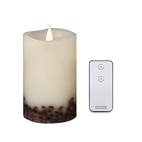 """Led Candle Flickering Flameless Candle Battery Operated Real Wax Coffee Beans Pillar Candle 3D Moving Wick with Remote Control 3.5""""x 6"""" 500+ Hours by La roskey"""