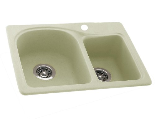 Swanstone KS03322DB.037 Solid Surface 1-Hole Dual Mount Double-Bowl Kitchen Sink, 33-in L X 22-in H X 9-in H, Bone