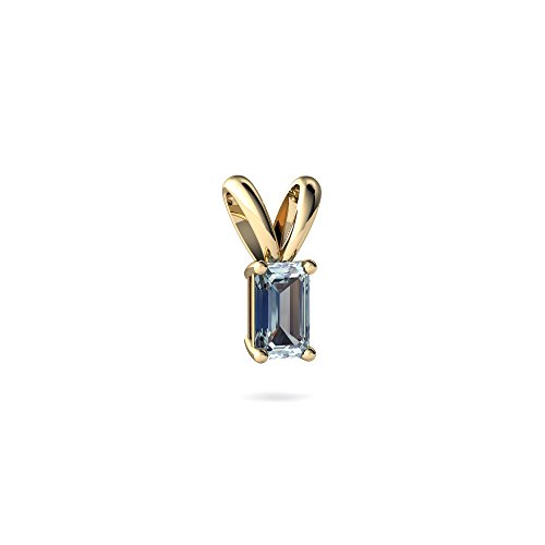 Emerald Cut Solitaire Pendant - 14kt Yellow Gold Aquamarine 5x3mm Emerald_Cut Solitaire Pendant