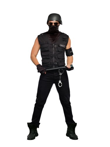 [Dreamgirl Men's Special Ops Costume, Black, Large] (Swat Vest Costume)