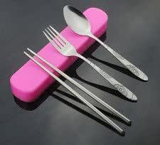 Cutlery Set - Knife Spoon Fork Lunch Dinner Pink