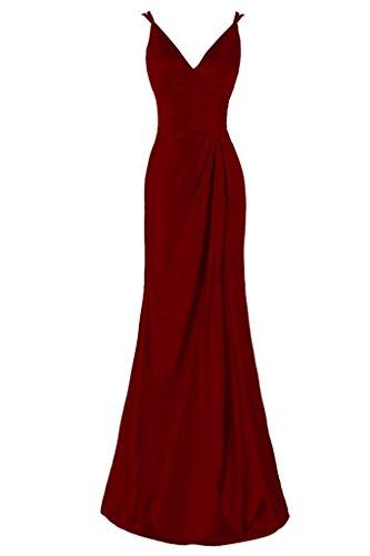 Robes Asbridal V Cou Backless Femmes Du Soir Robe De Demoiselle D'honneur Longue Avec Bourgogne Fente