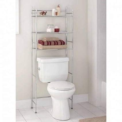Amazoncom Mainstays 3 Shelf Bathroom Space Saver Chrome Finish