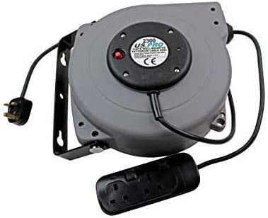US PRO 2300 15 Meter Wall Mounted Extension Cable Reel 240V Grey//Black