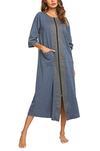 (Ekouaer O Neck Sleepshirt Zipper Sleepwear with Pockets Hit Color Rob Nightgown Cotton House Dress Robe Duster(Blue,XL))