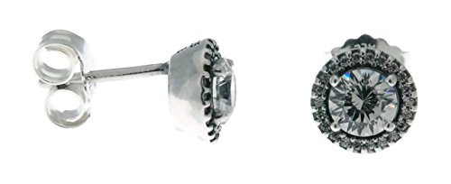 PANDORA Classic Elegance Stud Earrings, Sterling Silver With Clear Cz, 296272CZ Classic Clear Studs