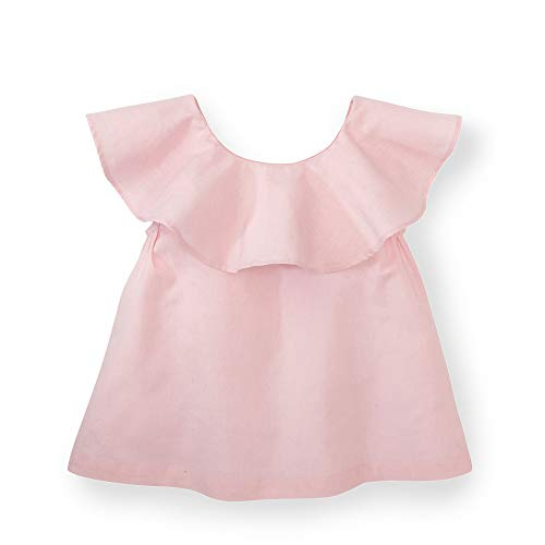 (Hope & Henry Girls' Pink Striped Ruffle Top with Bow)